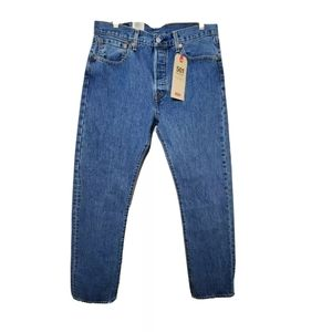 Levis Mens 32x32 Blue Button Fly Straight Jeans